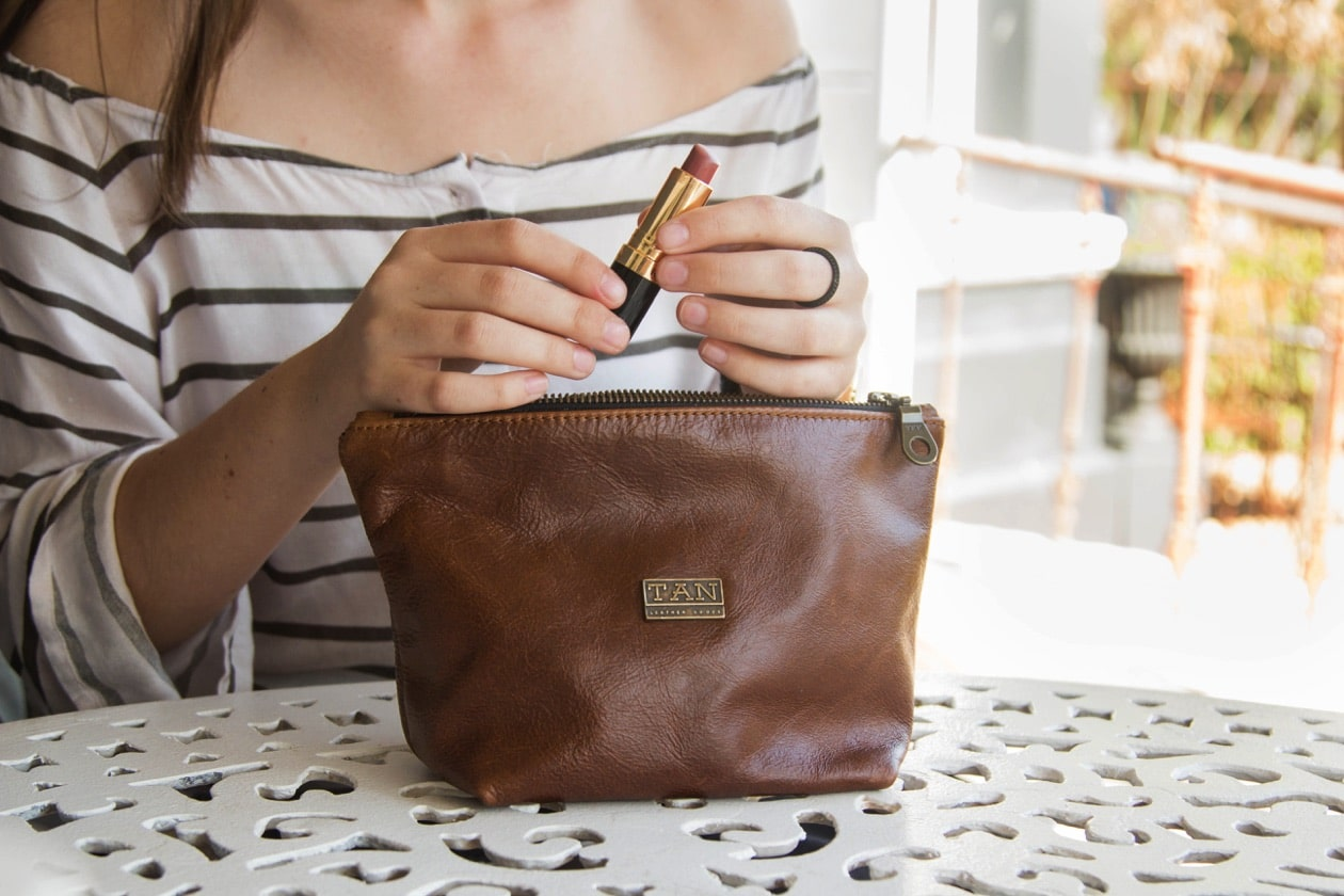 Louise Leather Makeup Bag - pecan
