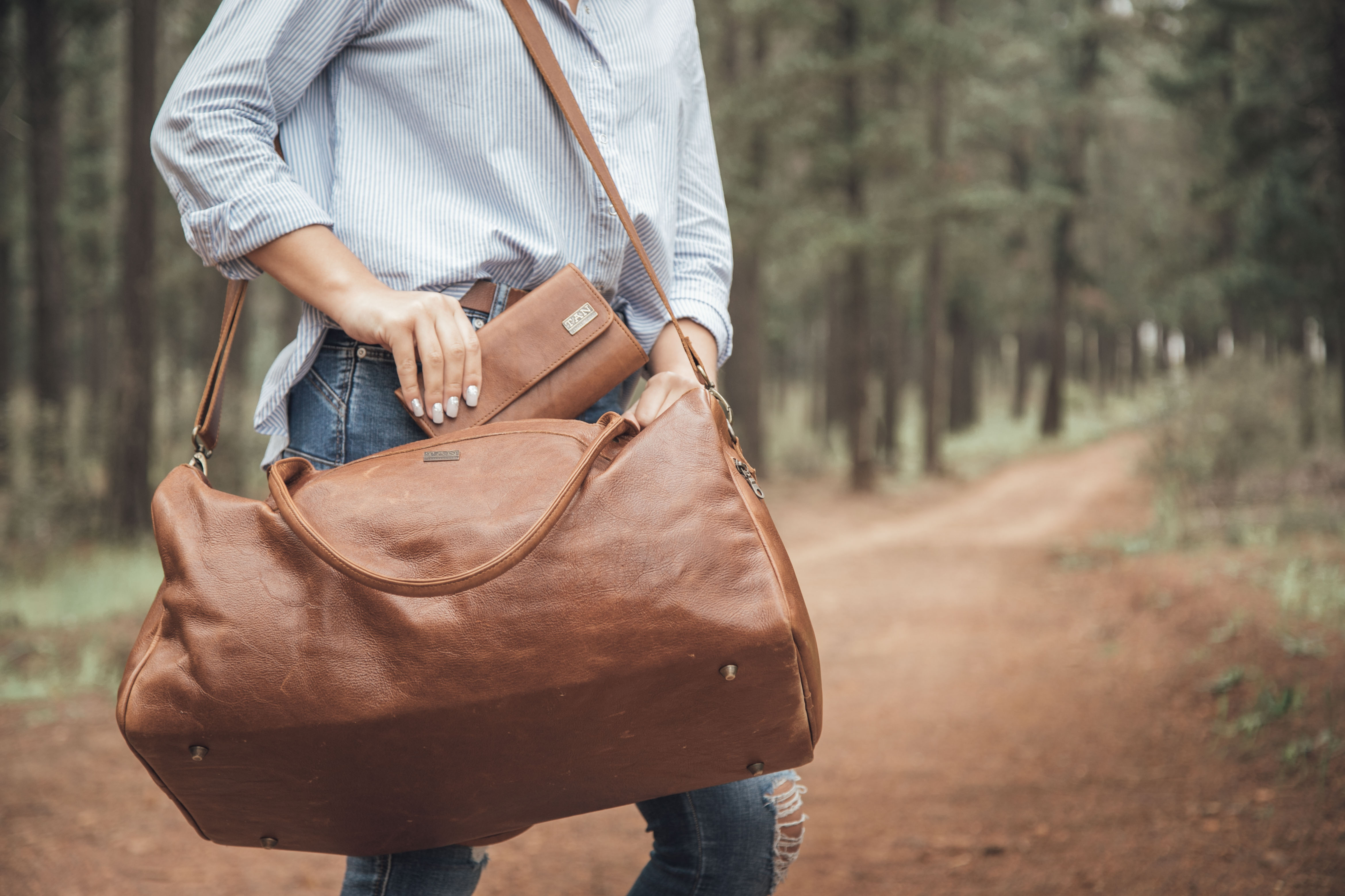 Jackson Leather Duffel Bag - pecan